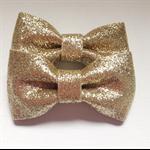 2 x stiff gold glitter bows