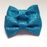 2 x stiff blue glitter bows