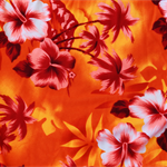 Orange & Red tropical stretch fabric, great for sarongs, dresses, craft