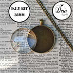 DIY Kit 6 x 38mm pendant  settings includes trays, glass inserts and chains