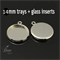 10x 14mm pendant earring tray setting with glass dome inserts jewellery craft