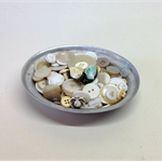 BUTTON LOT in Vintage Aluminium Pie Dish,White, Pearl, Clear, Glass Buttons, No1