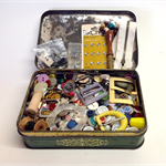 VINTAGE BUTTONS, BUCKLES, Bits and Bobs, in Old Pascall's Sweet Tin