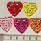 Heart charms (18) wooden, bright colours - suit key rings, jewellery, craft