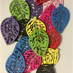 Leaf charms (17) wooden, bright colours - suitable for key rings or jewellery