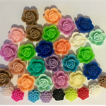 Flower cabochon embellishments (33) various colours