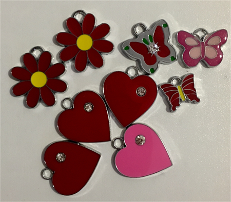 Enamel heart/ butterfly/flower charms (9)