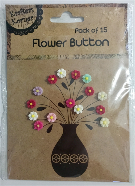 Flower button embellishments (15 pack)