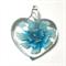 Large glass pendant - pale blue floral heart 4.5cm x 4.5cm