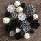 20 Black Grey Cream Mixed Flower Rose Resin Cabochon Flatback Embellishments DIY