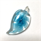 Large glass pendant - pale blue floral leaf 4.5cm x 2cm
