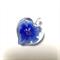 Large glass pendant - blue floral heart 3.5cm x 3cm