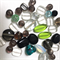 40 x mixed glass and crystal beads- black, silver, clear and green
