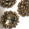 3 x gold metal and diamanté beaded cabochons, 4cm diameter