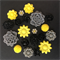 20 Black Yellow Grey Mixed Flower Resin Cabochon Flatback Embellishments DIY