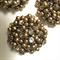 3 x gold metal and diamanté beaded cabochons, 4cm diameter