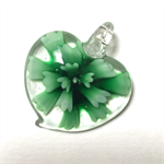 Large glass pendant - green floral heart 3.5cm x 3.5cm