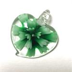 Large glass pendant - green floral heart 3.5cm x 3.5cm