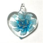 Large glass pendant - pale blue floral heart 4.5cm x 4.5cm