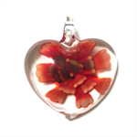 Large glass pendant - orange floral heart 4.5cm x 4.5cm