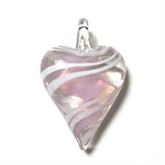 Large glass pendant - pale pink heart 4.5cm x 3cm