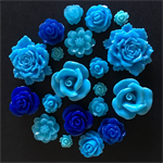 20 Dark Light Blue Mixed Flower Resin Cabochon Flatback Embellishments Craft