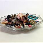 VINTAGE BUTTON LOT, Pressed Glass Dish, Craft Destash, Vintage Sewing Notions