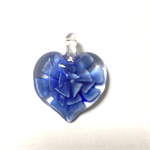 Large glass pendant - blue floral heart 3.5cm x 3cm