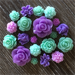 20 Mint Green Purple Mixed Flower Resin Cabochon Flatback Embellishments Craft