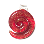 Large glass pendant - red and gold spiral 4cm x 5cm