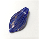 Large glass pendant - blue and gold floral leaf 6cm x 3cm
