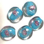 5 glass lampwork beads- blue with pink roses, 2cm diameter