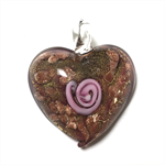 Large glass pendant - purple and copper heart 3.5cm x 4cm
