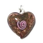Large glass pendant - purple and copper heart 3.5cm x 4cm