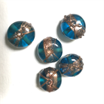 5 glass lampwork beads- turquoise with copper accents, 1.5 cm diameter