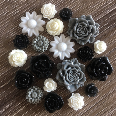 20 Black Grey Cream Mixed Flower Rose Resin Cabochon Flatback Embellishments DIY