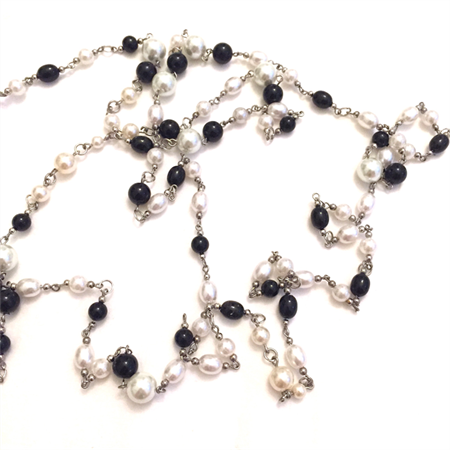 Faux pearls and black glass beads on silver plated wire- 1.85 metre length