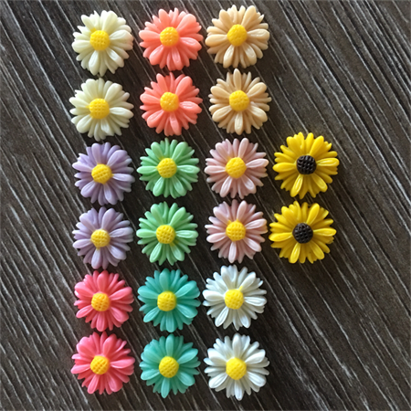 20 x 13mm Daisy Flower Resin Cabochon Flatback Embellishments Craft Scrapbooking