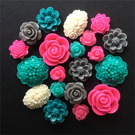 20 Pink Grey and Teal Mixed Flower Resin Cabochon Flatback Embellishments DIY