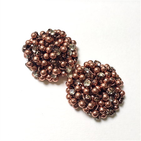 2 x Copper metal and diamanté beaded cabochons, 4cm diameter