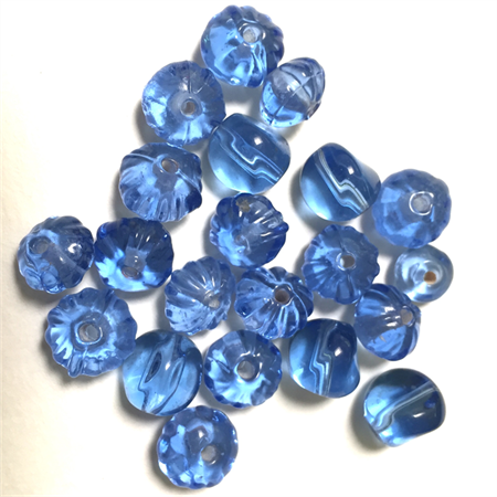 20 glass beads- cornflower blue, various shapes 8mm-1cm diameter