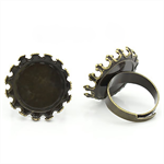 10 Antique Bronze Cabochon Setting Adjustable Rings