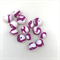 Handmade Polymer Clay beads x 14 - purple and white stripe.