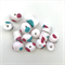 Handmade Polymer Clay beads x 14 - white with hot pink and turquoise spots
