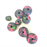 Handmade Polymer Clay beads x 8 - silver with fluro features