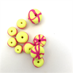 Handmade Polymer Clay beads x 10 -  fluro yellow with fluro pink detail