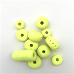 Handmade Polymer Clay beads x 11 -  fluro yellow