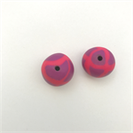 Handmade Polymer Clay beads x 2 - purple with fluro pink stripes