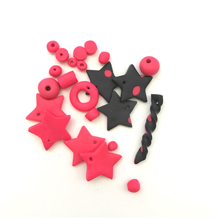 Handmade Polymer Clay beads and stars x 23 - fluro pink and black!