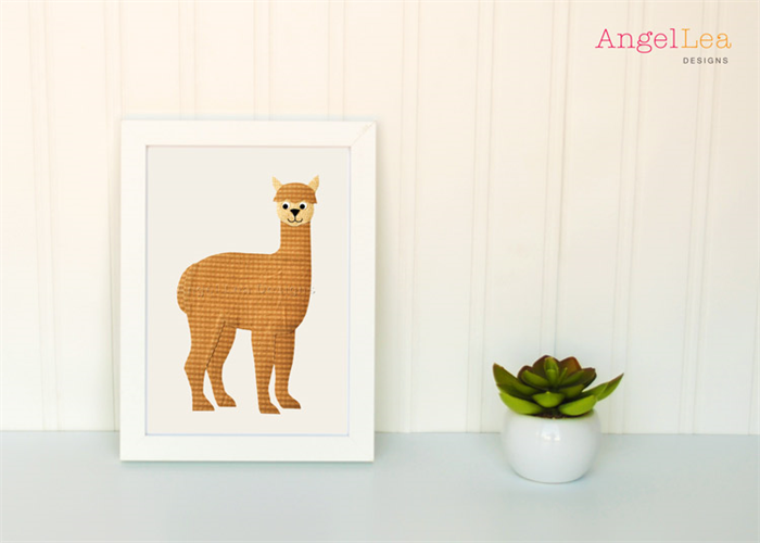 Alpaca applique template animal diy children pdf pattern
